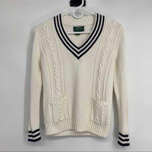 Pretty Ralph Lauren V-Neck Blue & White Sweater